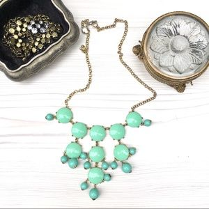 J. Crew cabochon mint green bubble necklace